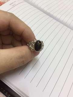 10號 圈口 925 琥珀 銀戒指
