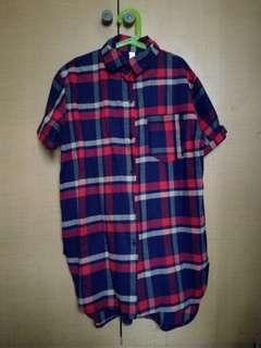 Flannel short sleeved top