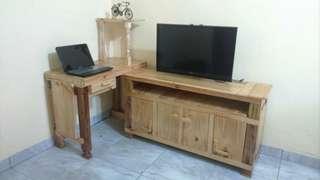 Meja tv L dari kayu jati blanda