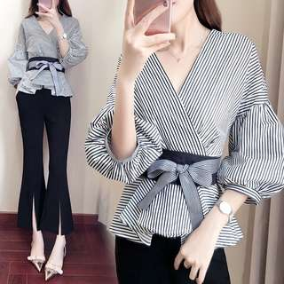 Slimming 2pc Stripe Wrap Front Top with Black Slit Pants