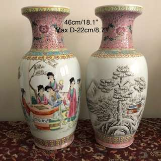 Lot Of Two Porcelain Figural snow-view vase