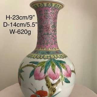 A Porcelain peach floral vase