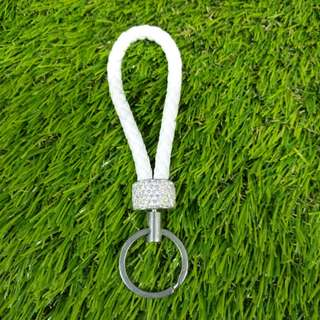 Leather keyring with crystal