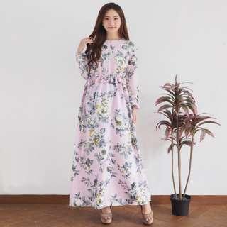 Gamis Serut Bunga Busana Muslim Wanita Baju Pengajian Kaftan Grosir Murah Surabaya