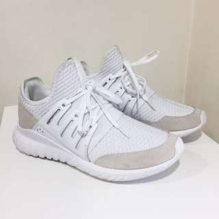 Authentic Adidas Tubular Radial white suede running shoes sneakers