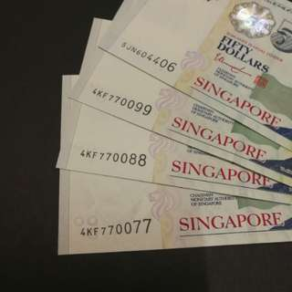 (NEW) Fancy Number, Singapore Portrait $50 (GEM UNC)