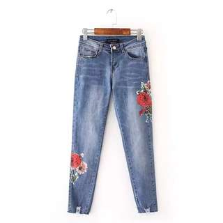 European and American style fashion casual wild flowers heavy embroidery high waist thin jeans