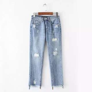 European and American style high waist letter embroidery worn trousers tassel straight jeans