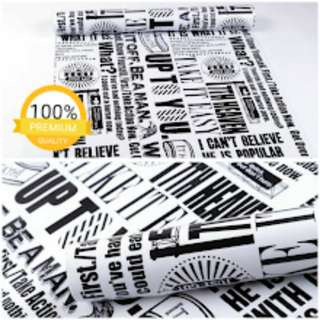 Grosir murah wallpaper sticker dinding putih tulisan hitam/koran