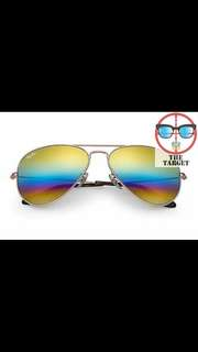 ray ban aviator flash rb3025 58mm size rainbow mirror lenses