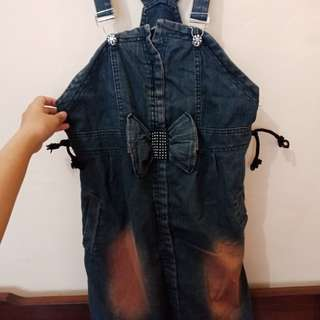 Ribbon Denim Skirt Jumpsuit