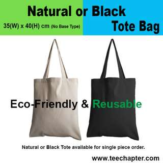 Thick 10oz. Cotton Canvas Blank Blank or Natural Tote Bag
