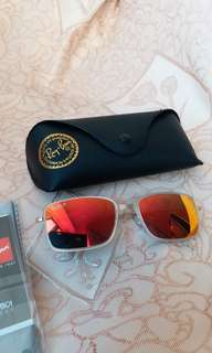 Original rayban RB 3514 AVIATOR FLAT Orange lens