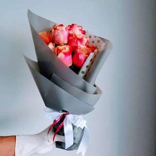 #051 Pink Rose in Grey Wrap