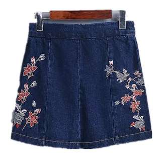 European and American wind washed denim cotton high waist flower heavy embroidery A word skirt
