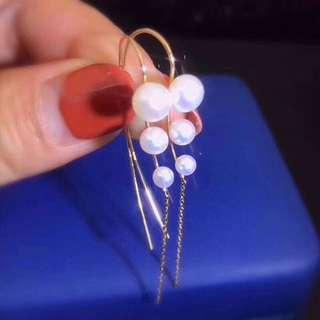 仙氣款式✨日本工藝18k金天然珍珠耳環✨全新設計長耳環耳鈎
