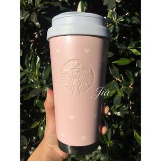 🉐️絕版🉐韓國星巴克愛心粉紅色Elma不鏽鋼隨行杯473ml