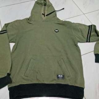 Jaket hoodie hijau army original DBJK