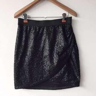 Stradivarius black sequin cross skirt