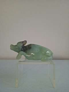 Vintage old jade stone carving water 🐃 height 6cm length 14cm perfect condition