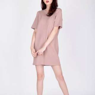 Avril Tee Dress in Dusty Pink