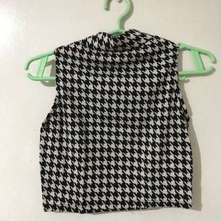 Houndstooth Turtle Neck Crop Top