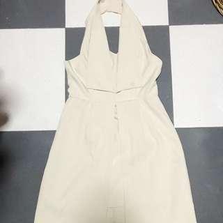Cheris beige colour long dress
