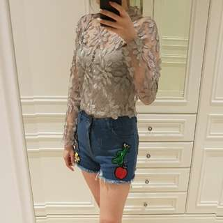 Silver brocade/lace top