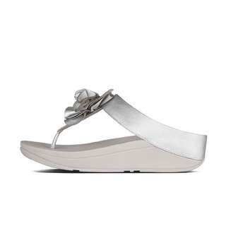 FitFlop FLORRIE™  Soft Metallic Toe-Thong Sandals | Silver | US Women's Size 7,8,9,10,11 | Flip Flop Sandal Slipper