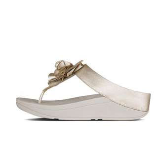FitFlop FLORRIE™  Soft Metallic Toe-Thong Sandals | Pale Gold | US Women's Size 9,10,11 | Flip Flop Sandal Slipper