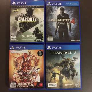 PS4 uncharted 4, titanfall 2, guilty gear, Call of Duty infinite warfare
