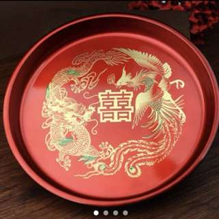 Wedding Chinese Tea Ceremony Double Happiness Trays Dragon Phoenix Red Marriage
