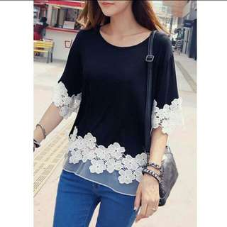 (in stock M) Casual patchwork lace blouse.