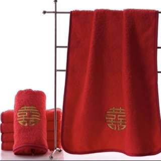 Wedding Double Happiness Shuang Xi Red Towels Cloth Face 双喜
