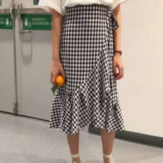 [INSTOCKS] Gingham Ruffles Wrap Midi Skirt
