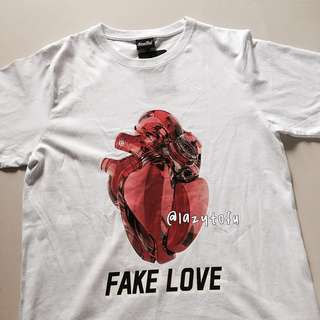 instock!! bnwt white 'fake love' crew neck top tee tshirt