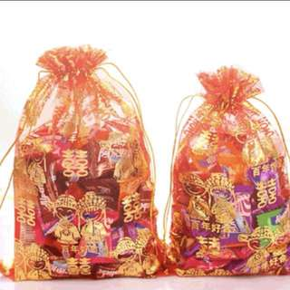 Wedding Guo Da Li Chinese Party Favor Favour Gift Bags Double Happiness Mesh Candy Sweets Chocolate