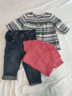 Carter's set of 3 romper, top, jeans