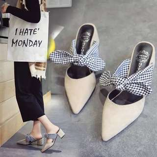 2018 summer new sandals pointed bow shallow mouth shoes baotou thick with half slippers straps high heels female