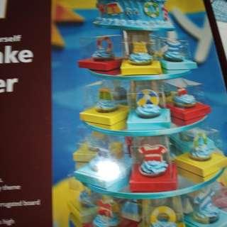 5 tier cake and cupcake tower