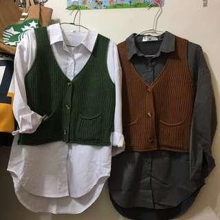 🚚 Airspace 長版襯衫+針織背心外套