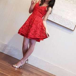 Red lacey cocktail dress