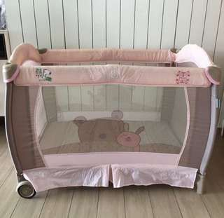 Preloved Pink Shears Baby Playpen Cot