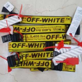 Instock off white industrial belt yellow