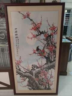 Used mandarin bird drawing W Wooden frame