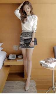 [BN] Gorgeous sweater with skirt in knit patterns