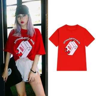 [4 colors] Strawberry Milk T-Shirt - Unisex