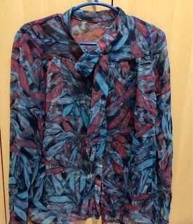 Blue Floral Print SeeThrough Top
