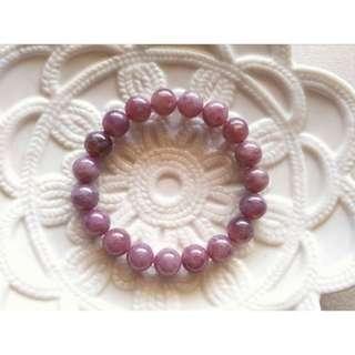 55號10MM招桃花天然老礦紫粉晶。馬達加斯加粉晶馬粉。手珠手鍊。現貨