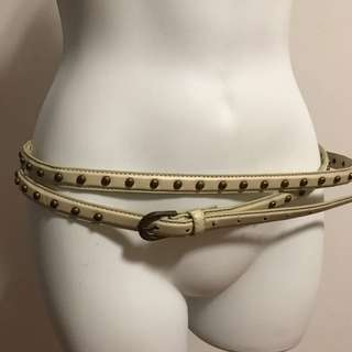 Brand new double loop white leather metal studded belt